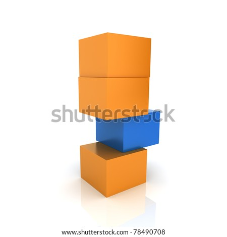 Illustration with weak element with blue and orange cubes (color collection)
