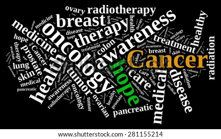 Illustration with word cloud about different types of cancer. - stock photo