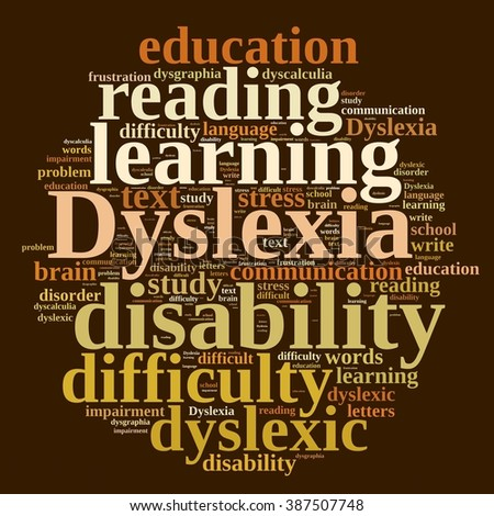 Illustration with word cloud about dyslexia - stock photo