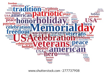Illustration with word cloud about Memorial day. - stock photo