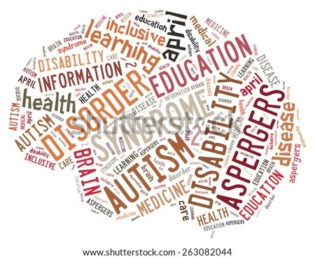 Illustration with word cloud on disease Autism - stock photo