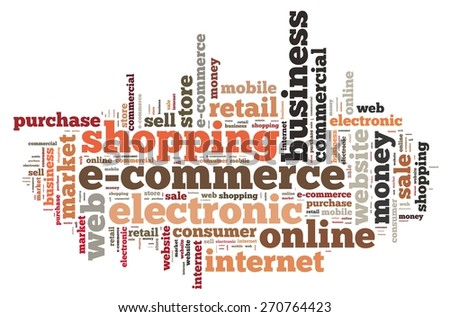 Illustration with word cloud on e-commerce