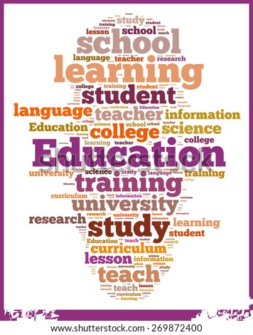 Illustration with word cloud on education at schools.