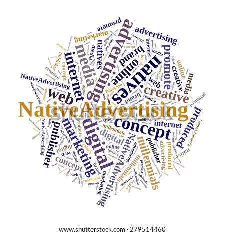 Illustration with word cloud on native advertising - stock photo