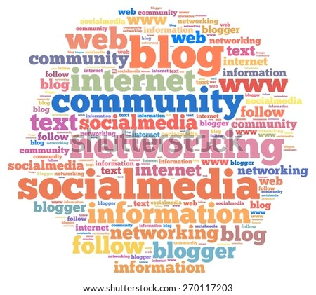 Illustration with word cloud on social media