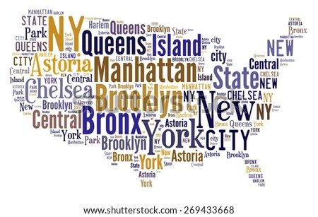 Illustration with word cloud over the city of New York - stock photo