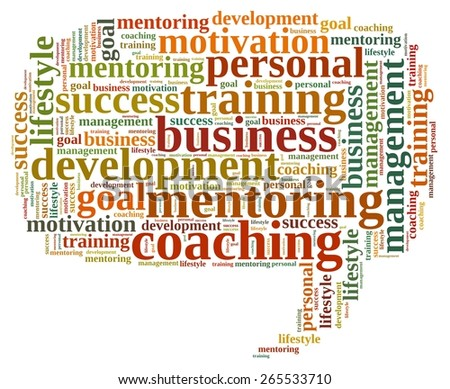 Illustration with word cloud, related to coaching. - stock photo