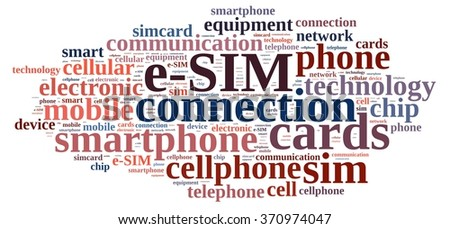 Illustration with word cloud related to e-SIM.