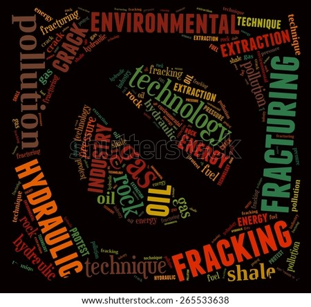 Illustration with word cloud, related to fracking. - stock photo