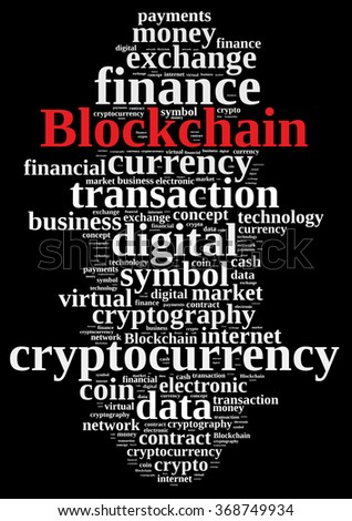 Illustration with word cloud with the word Blockchain.