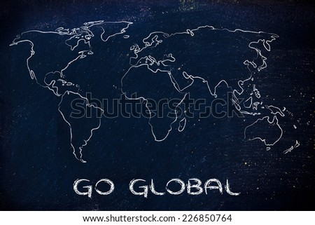 illustration with world map, global business and worldwide opportunities - stock photo