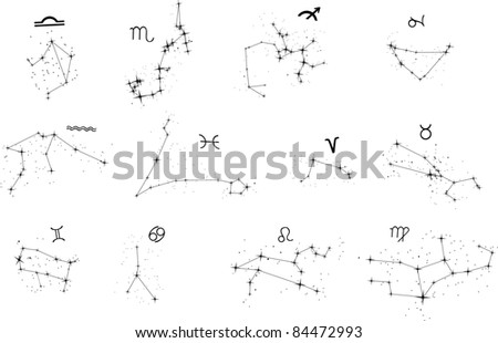 illustration with zodiac constellations isolated on white background - stock photo