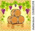 illustration wooden barrels with wine on background of the grapevine - stock vector