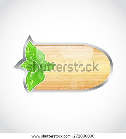 Illustration wooden board with eco green leaves - raster - stock photo