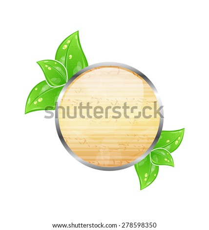 Illustration wooden circle board with eco green leaves - raster - stock photo