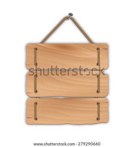 Illustration wooden sign board with rope hanging on a nail - raster - stock photo