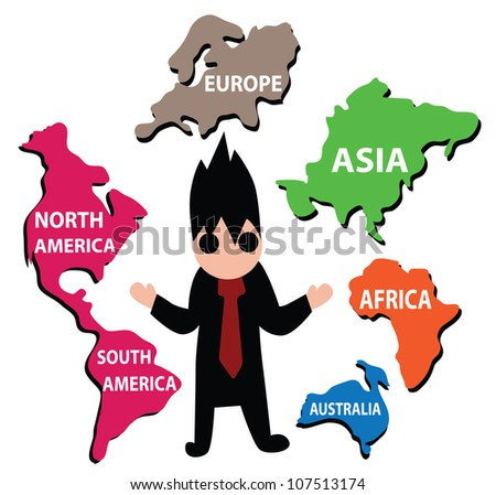 Illustration - World business.He control the world of business. - stock photo