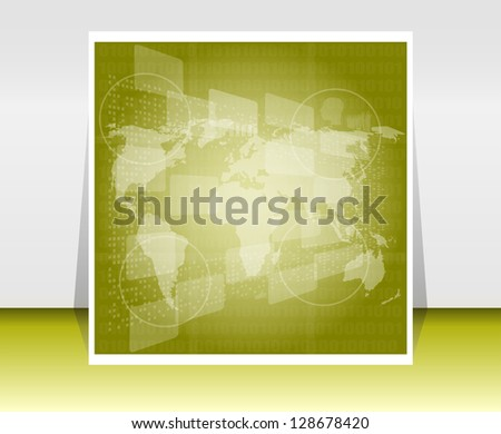 illustration world map. Concept communication, raster - stock photo