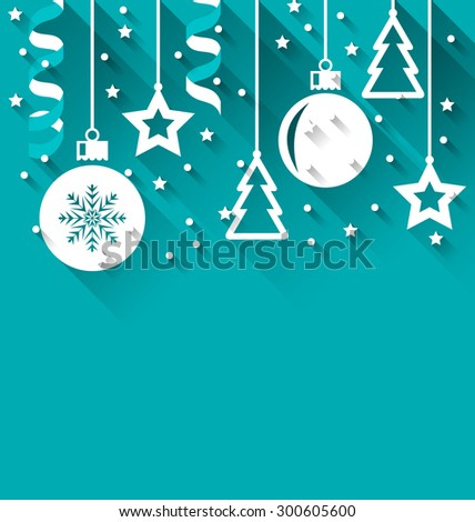 Illustration Xmas background with fir, balls, stars, streamer, trendy flat style - raster - stock photo