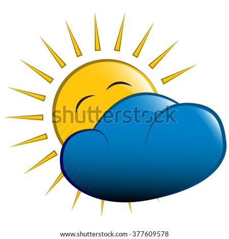 illustration. yellow sun behind a cloud - stock photo