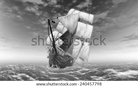 illustrations former self sailboat sailing ship in black and white - stock photo