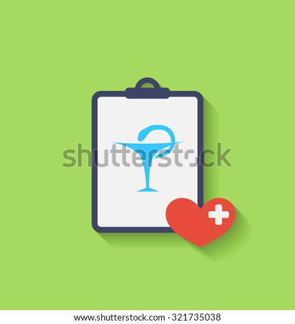 Illustrations Medical Record with Caduceus Snake, Long Shadows - raster - stock photo