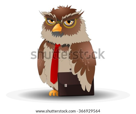 illustrations of a brown business owl pose  on isolated white background - stock photo