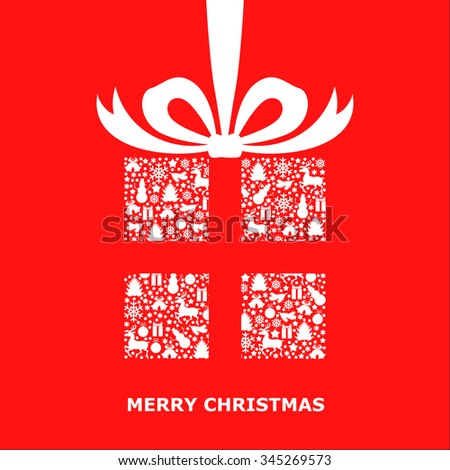 illustrations of Christmas card with patterned gift decorated bow