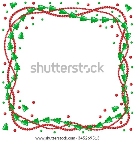illustrations of Christmas congratulatory frame with garlands of green fir and beads