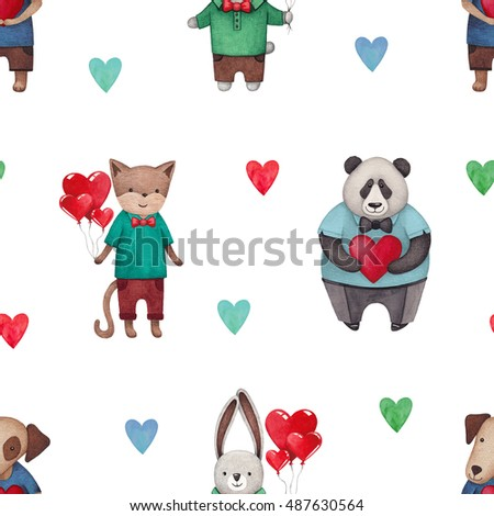 Illustrations of cute animals. Seamless pattern
