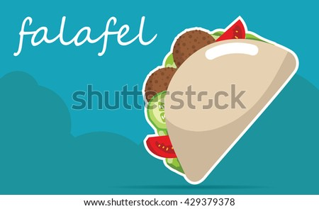 illustrations of Falafel stuffed pita with vegetables. - stock photo