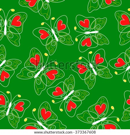 illustrations of hearts butterflies pattern seamless on green background