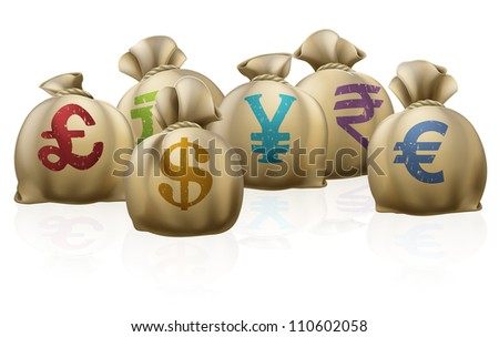 Illustrations of lots of money sacks with currency symbols on them - stock photo