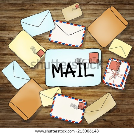 Illustrations of Mails and Communication Concepts - stock photo