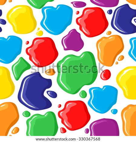 illustrations of pattern seamless of multicolor paints drops and spots - stock photo