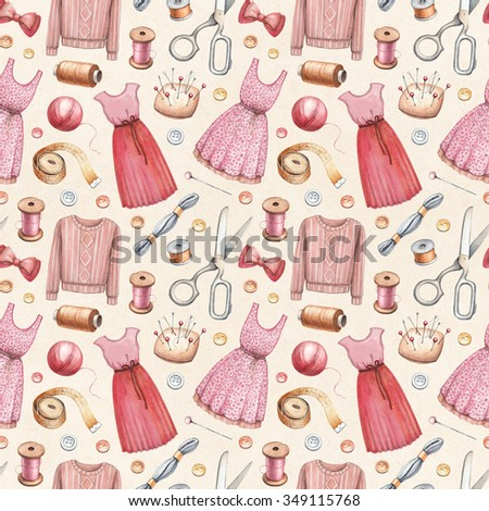 Illustrations of sewing tools and dresses. Seamless pattern - stock photo
