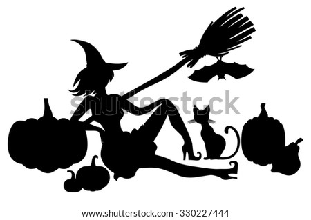illustrations of silhouette pretty witch and pumpkins, cat, bat