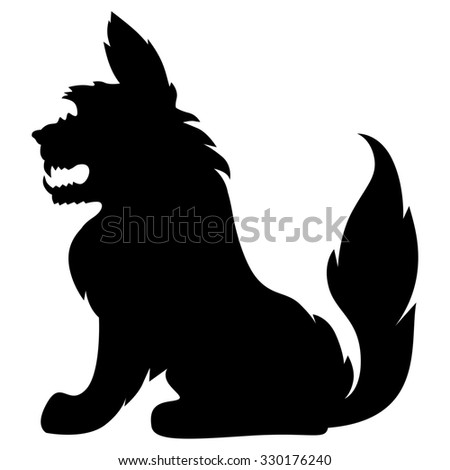 illustrations of silhouette scary shaggy monster - stock photo