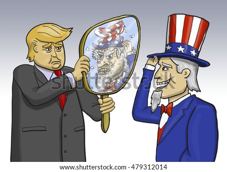 Illustrative editorial cartoon of presidential candidate Donald Trump and Uncle Sam.