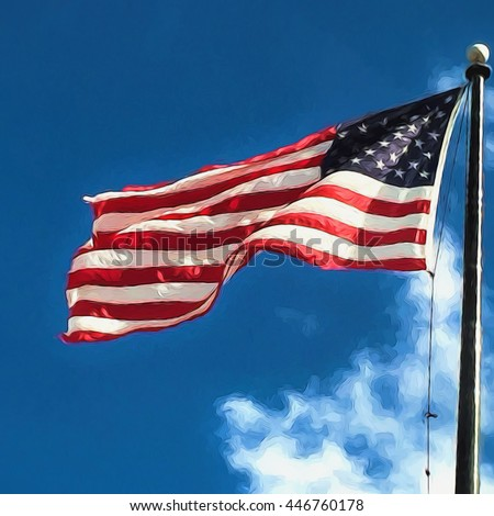 Illustrative image of Old Glory waving against blue sky.