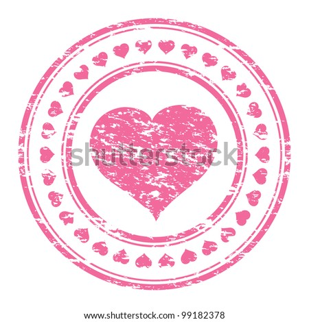 illustrator of a grunge pink rubber stamp with heart  isolated on white background - stock photo