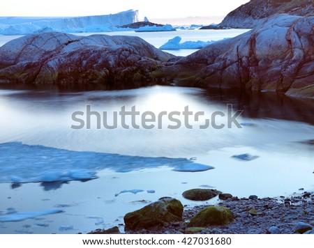 Ilulissat, Greenland. Arctic Ocean, north pole, Iceberg and glacier. - stock photo