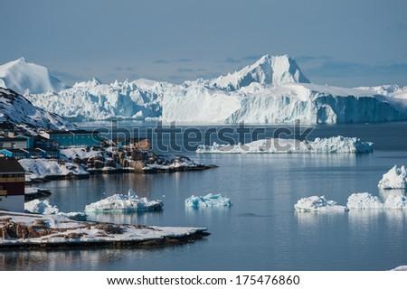 Ilulissat Icefjord, UNESCO World Heritage Site of Greenland  - stock photo