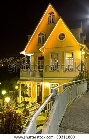 iluminated building - stock photo