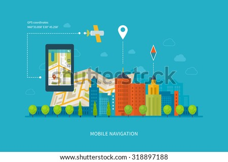 Ilustration concept of  holding smart-phone with mobile navigation. Flat design modern illustration icons set of urban landscape and city life. Building icon.