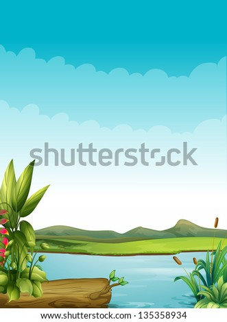 Ilustration of a river with plants and a wood - stock photo