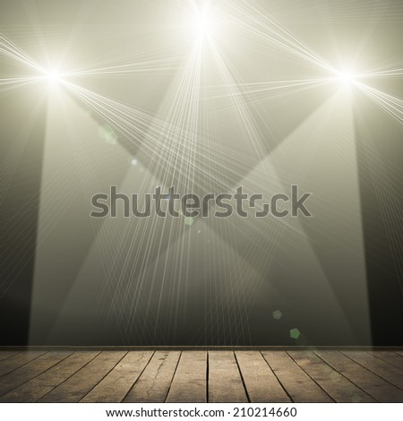 ilustration of concert spot lighting over dark background and wood floor - stock photo