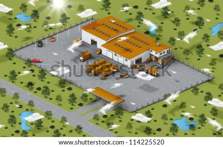 Ilustration of warehouse with truck, loader, boxes in isometric view of environment - stock photo