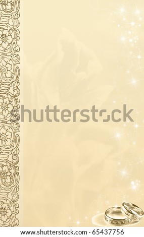 Image and illustration composition for wedding invitation background, border or frame with copy space. - stock photo