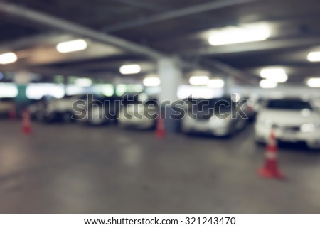 image blur car parking in building background - stock photo